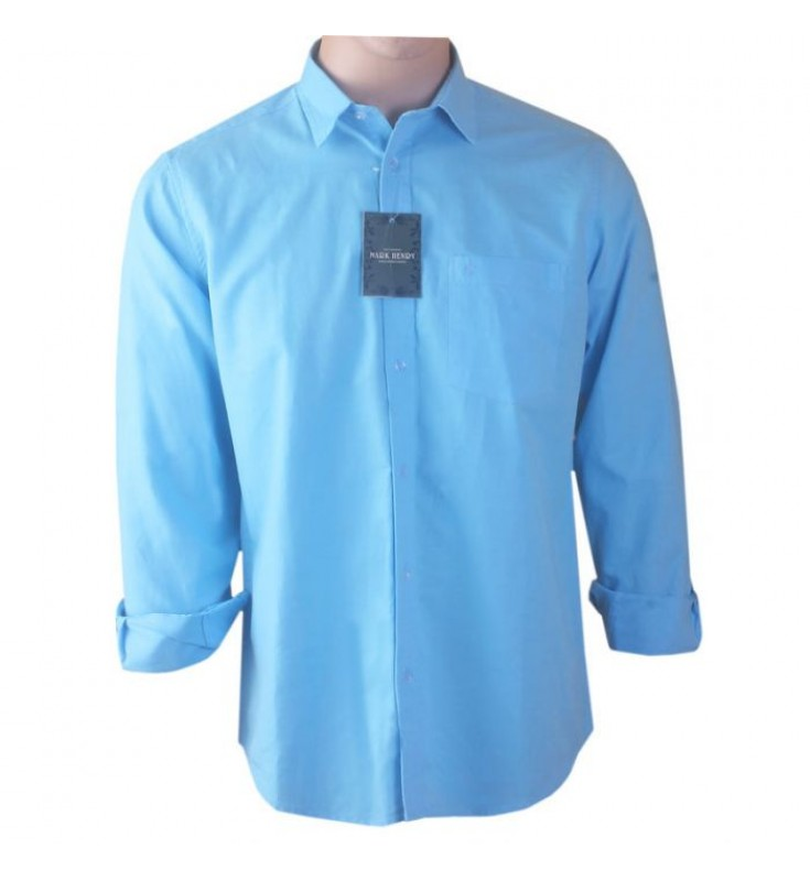 Mark Henry Linen Shirt- Light Blue Color